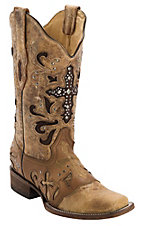 Corral® Women's Antique Saddle w/ Stud Cross Square Toe Western Boot