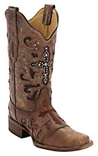 Corral� Women's Cognac Wash w/ Stud Cross Square Toe Western Boot