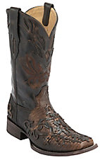 Corral® Men's Cognac Teju Lizard w/Cross Overlay Exotic Double Welt Square Toe Western Boots