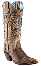 Corral® Ladies Brown w/ Turquoise Inlayed Floral Tool Pointed Toe Western Boots