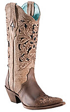 Corral® Ladies Brown Floral Tool w/ Black Inlay Pointed Toe Western Boots