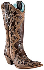 XEMCorral Ladies Dark Brown w/ Light Brown Truffle Overlay Pointed Toe Western Boots