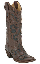 Corral Ladies Chocolate Brown with Black Inlay Western Boot