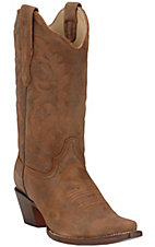 Corral® Ladies Tobacco Brown Distress Leather Snip Toe Western Boot