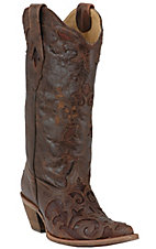 Corral® Ladies Tobacco w/ Tobacco Inlay Sharpey Western Boots