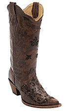 Corral® Women's Cognac Fango Goat w/Chocolate Sequin Inlay Pointed Toe Western Boots