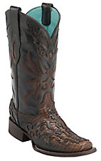 Corral® Ladies Cognac Teju Lizard w/Leather Lace Overlay Square Toe Exotic Western Boots