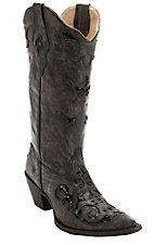 Corral� Women's Chocolate Fango Triad Black Sequin Inlay Pointed Toe Western Boots