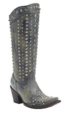 Corral Women's Black Crater with Wingtip & Silver Studs Snip Toe Western Boots