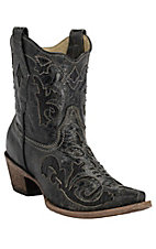 Corral Black w/Black Lizard Inlay Short Top Snip Toe Western Boots