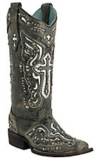 Corral� Women's Distressed Black w/White Inlayed Winged Cross & Silver Studs Double Welt Square Toe Western Boots