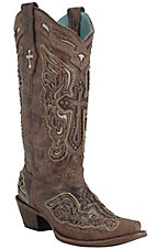 Corral� Women's Cognac Crater w/ Honey & Bone Inlayed Winged Cross & Brass Studs Snip Toe Western Boots
