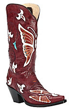 Corral® Ladies Red w/ Multi Color Butterfly & Flowers Inlay Snip Toe Western Boot