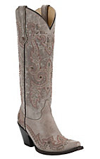 Corral® Women's Tall Top Bone Tan w/ Wingtip & Studs Snip Toe Western Boots
