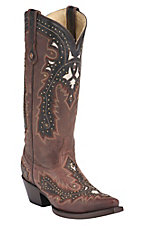 Corral® Women's Brown w/ Chocolate Overlay & Studs Snip Toe Western Boots