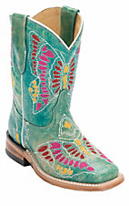 Corral Boot Company® Kids Distressed Turquoise Multi Butterfly Stitch Square Toe Western Boots
