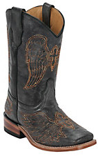 Corral Boot Company® Kids Distressed Black w/ Gold Winged Cross Square Toe Western Boots