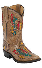 Corral Boot Company® Kids Tan Multi-Color Butterfly Snip Toe Western Boots
