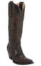 Corral® Ladies Dark Brown Wingtip Engraved Snip Toe Western Boots