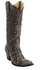 Corral Women's Black w/ Brown Overlay & Studs Tall Top Snip Toe Western Boots
