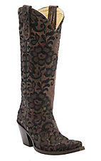 Corral® Women's Chocolate w/Black Lace Floral Embroidered Overlay Tall Snip Toe Western Boots