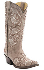 Corral Women's Bone Tan w/Floral Fancy Stitch Snip Toe Western Boots