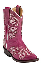 Corral® Kid's Pink Fancy Stitch Snip Toe Western Boots