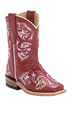 Corral® Kid's Red Fancy Stitch Square Toe Western Boots