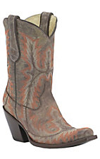 Corral Ladies Distressed Brown w/Orange Fancy Stitch Punchy Snip Toe Western Boots