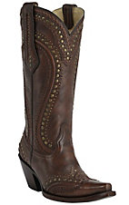 Corral Women's Tall Top Maple Brown with Whip-Stitch & Studs Snip Toe Western Boots