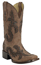 Corral Women's Distressed Nude Aspen w/ Tobacco & Brown Inlay Square Toe Western Boots