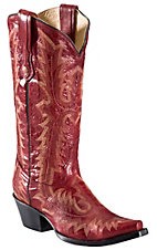 Corral® Ladies Red w/ Tall Top Fancy Stitch Snip Toe Western Boots