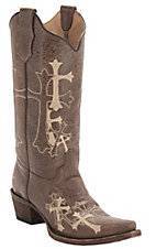 Corral Circle G Women's Distressed Brown w/Beige Cross Embroidery Snip Toe Western Boots