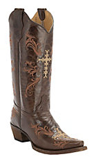 Corral Circle G Women's Chocolate w/Beige & Cognac Cross Embroidery Snip Toe Western Boots