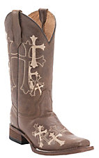 Corral Circle G Women's Distressed Brown w/ Beige Cross Embroidery Square Toe Western Boots