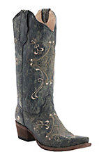Corral Circle G Ladies Black Crackle w/Green & Beige Fancy Embroidery Snip Toe Western Boots