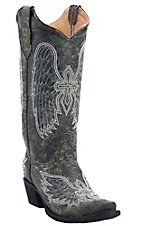 Corral Circle G Women's Distressed Black w/White Winged Cross Embroidered Snip Toe Western Boots