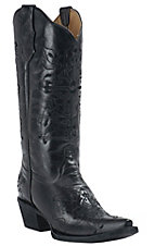 Corral® Circle G™ Women's Black with Black Cross Embroidery Snip Toe Western Boots