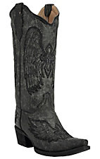 Corral� Circle G? Ladies Distressed Gray/Black w/Black Stitched Winged Cross Snip Toe Western Boots