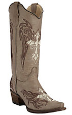 Corral Circle G Women's Taupe with Chocolate & Cream Winged Cross Embroidery Snip Toe Western Boots