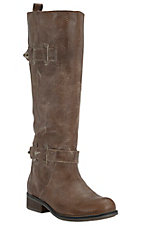 Corral Ladies Washed Cognac w/Strap Tall Top Round Toe Western Fashion Boots