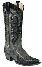 Corral Ladies Grey Black w/ Black Sequin Eagle and Wingtip Snip Toe Western Boots
