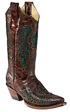 Corral® Ladies Whiskey Marble Brown w/Turquoise Fleur de Lis Snip Toe Western Boot