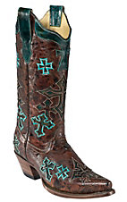 Corral® Ladies Whiskey Marble Brown w/ Turquoise Crosses Snip Toe Western Boot