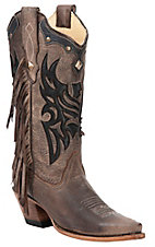 Corral® Ladies Distressed Brown w/ Black Eagle Inlay & Fringe Snip Toe Western Boot