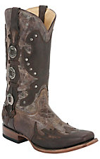 Corral® Men's Distressed Brown Wingtip Concho Square Toe Boots