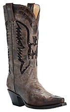 Corral Ladies Distressed Brown w/ Brown Sequin Eagle Snip Toe Western Boots