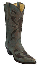 Corral® Women's Brushed Turquoise w/ Brown Beetle Overlay Snip Toe Western Boot