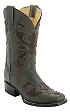 Corral® Women's Brushed Turquoise w/ Brown Beetle Overlay Square Toe Western Boot