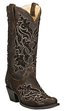 Corral Women's Roughed Brown w/ Black Sequin Inlay Snip Toe Western Boots